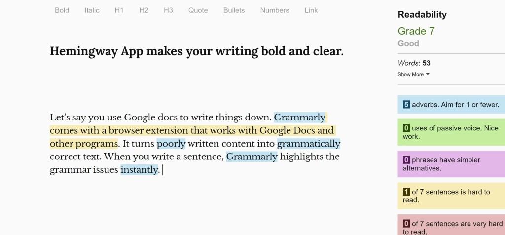 Hemingway to get a readability score
