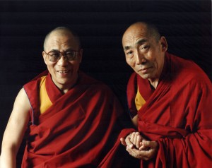 His Holiness the 14th Dalai Lama with Ven. Geshe Gyeltsen