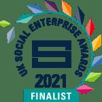 The logo of the 2021 UK Social Enterprise Awards, a stylised laurel wreath in multicolour.