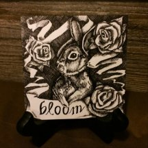 "BLOOM | 2015 | pen and ink on paper, 4"" x 4"""