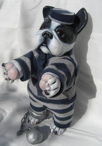 Boston Terrier as Old Time Prison Chaingang