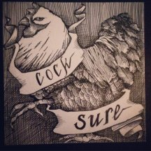 "COCKSURE | 2016 | pen and ink on artist tile, 4"" x 4"""