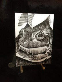 "FROG 1 | 2013 | pen and ink art card, 2.5"" x 3.5"""
