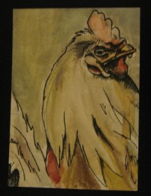"ROOSTER | 2010 | watercolor and ink art card, 2.5"" x 3.5"""