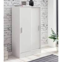 Günstiger Schrank mit Schiebetüren in Weiß   60x108x29 cm ...