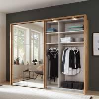 Kleiderschrank in Eiche Bianco & Spiegel mit zwei ...