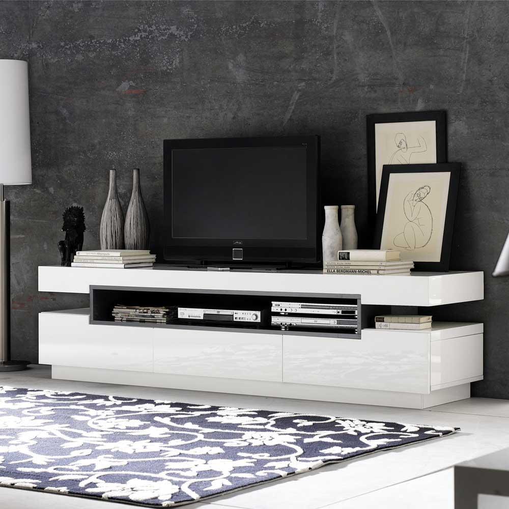 TV Sideboard Laxie In Wei Hochglanz 200 Cm Breit Wohnende