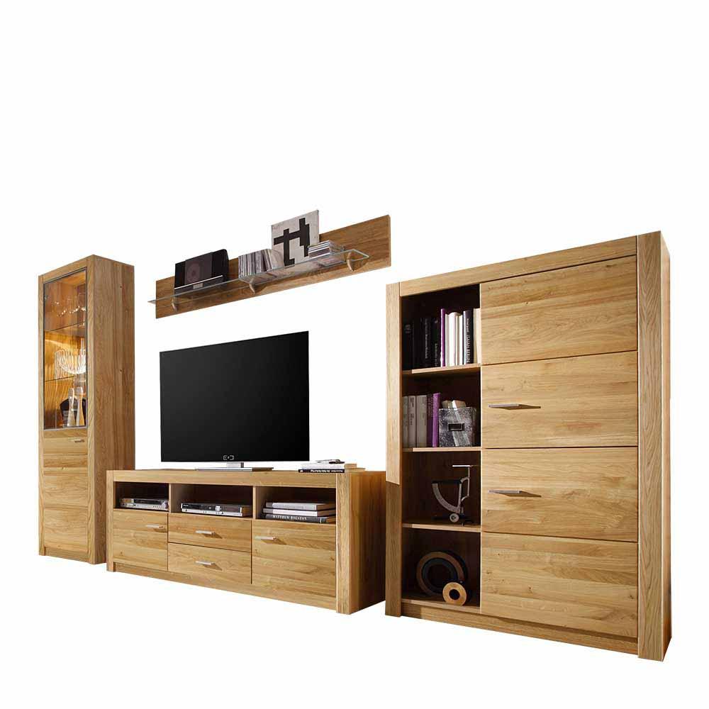 teilmassive schrankwand wohnzimmer asteiche 4 teilig mit 201cm hohe landuva