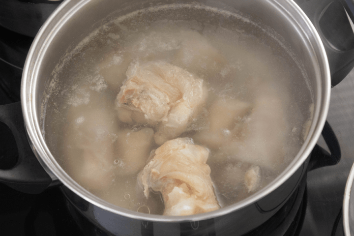 Cooked tendon in a pot of water