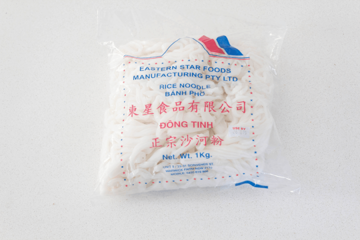 Rice noodles in a packet