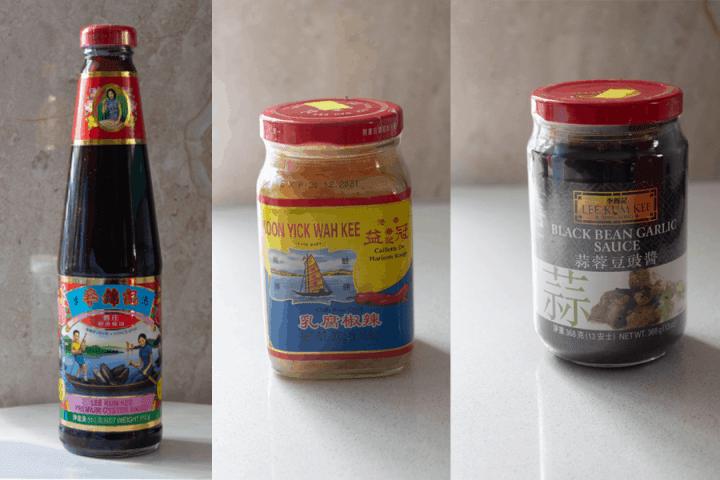 Oyster sauce, fermented bean curd and black bean garlic sauce