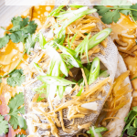 Chinese steamed fish with ginger and shallots on a plate