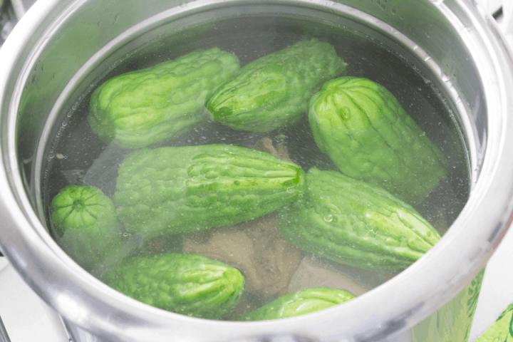 Bittermelons in broth in a pot