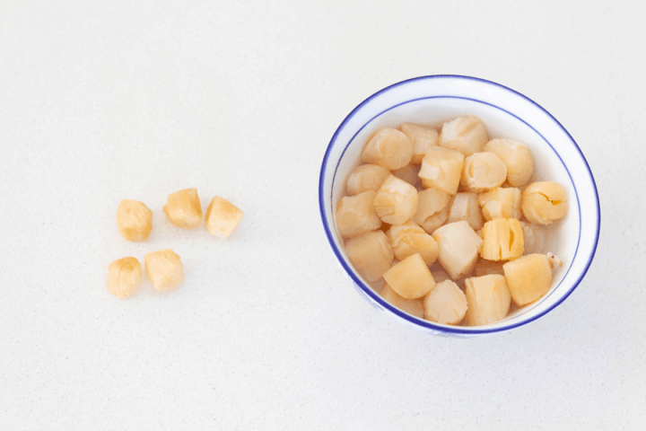 Dried scallops in a bowl