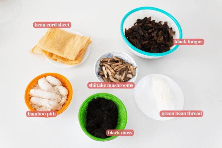 Bean curd sheets, black moss, bamboo pith, shiitake mushrooms, green bean thread and black moss