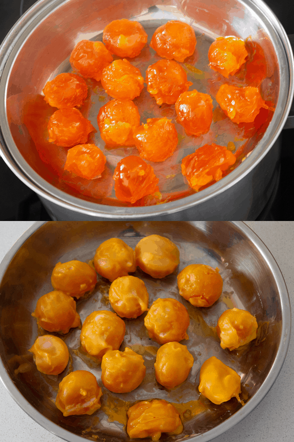 Salted egg yolks in a dish before and after being steamed