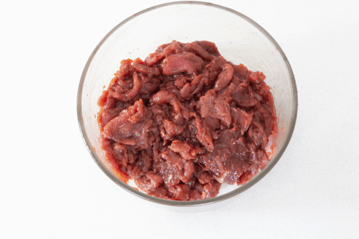 Beef slices in a bowl