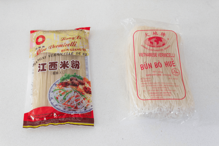 Two brans of rice vermicelli in bags