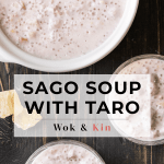 Sago soup with taro in a pot along with bowls of sago soup