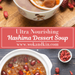 Hashima Dessert Soup in bowls with a spoon in it above a pot of Hashima Dessert Soup