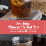 Chinese Herbal Tea with ice in a glass cup with a teapot pouring tea into it above Chinese Herbal Tea in a glass next to a teapot of tea with sweetened wintermelon in front of it