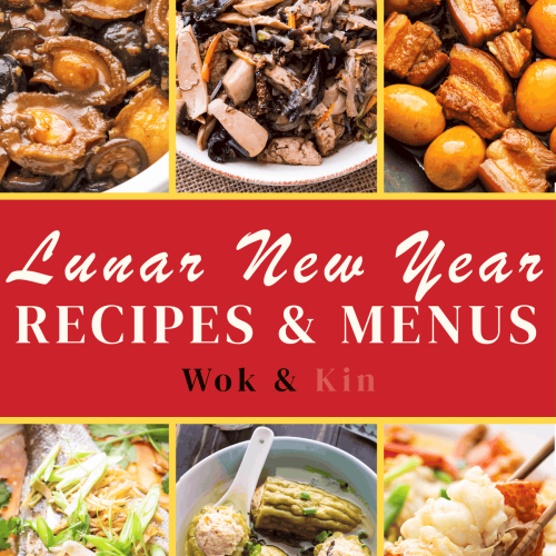 Plates and bowls of Lunar New Year dishes.