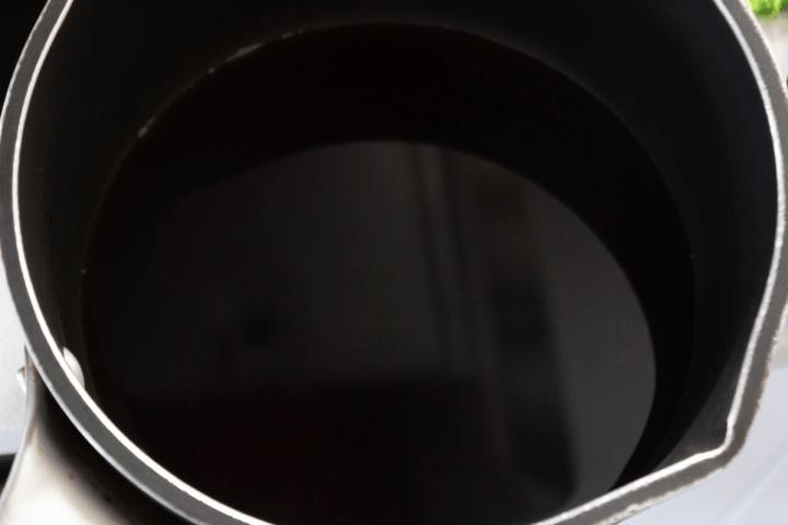 A light soy sauce mixture in a saucepan