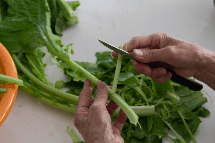 Hands using a small knife to peel away the stem's exterior