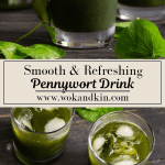 Pennywort Drink in glass cups with ice over an overhead shot of Pennywort Drinks in glass cups with ice