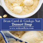 Bean Curd and Ginkgo Nut Dessert Soup in a pot with a spoon scooping into it.