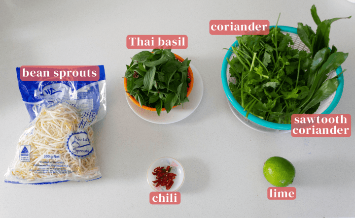 A bag of bean sprouts along with a colander of Thai basil, coriander, sawtooth coriander, a dish of chopped chili and a lime.
