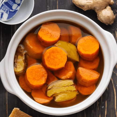 Sweet Potato and Ginger Dessert Soup in a pot.
