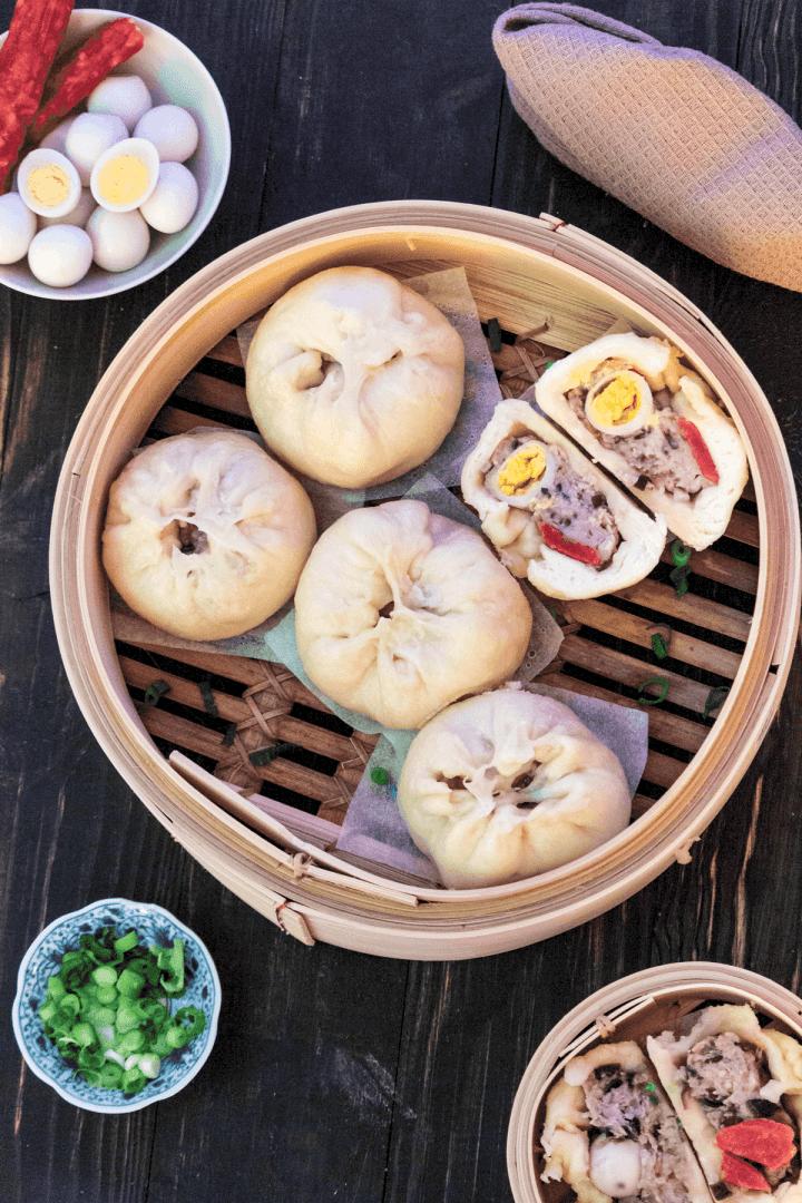 Banh Bao in a bamboo steamer.