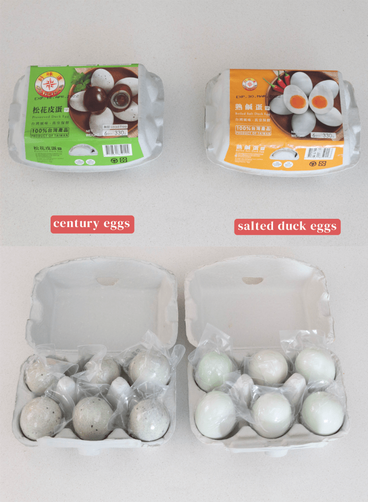 Century and Salted Duck Eggs in their packaging.