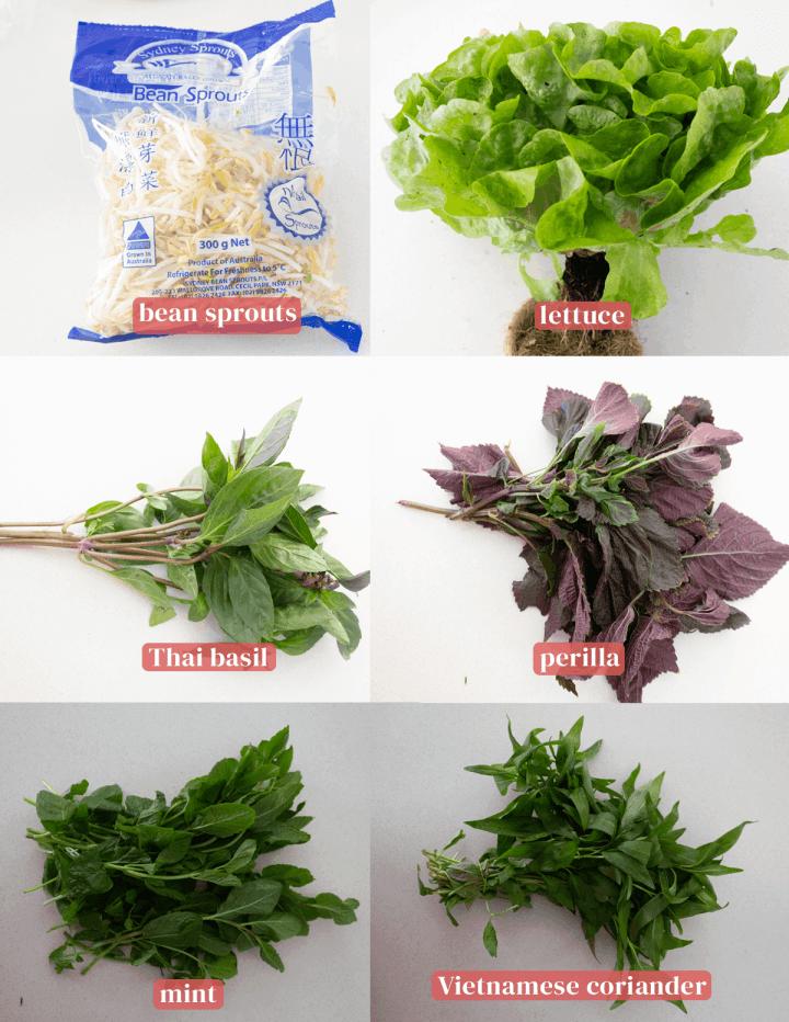 Asian herbs in bundles.
