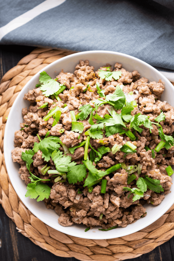 Vietnamese Pork Mince in a bowl.