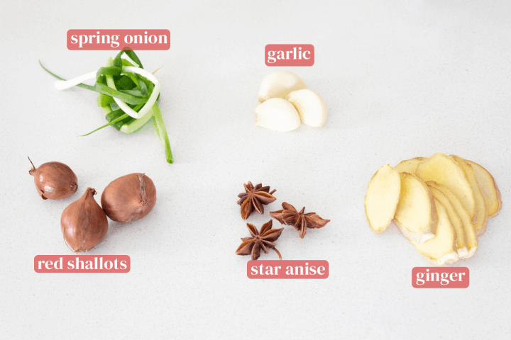 A spring onion knot, peeled garlic, ginger slices, star anise and red shallots.