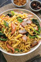 Char Siu Noodles on a plate.