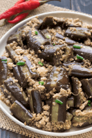 Eggplant and Pork Mince Stir Fry in a dish.