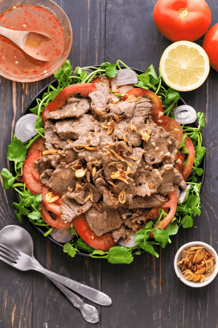 Vietnamese Beef Salad on a plate.