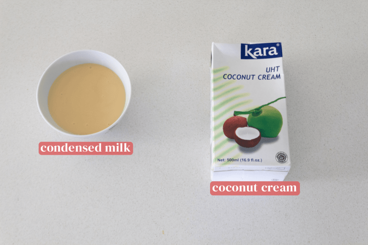 Condensed milk in a bowl along with a box of coconut cream.