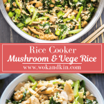 Rice Cooker Rice with Mushrooms and Chinese Broccoli with a spatula scooping into it above some in a bowl.