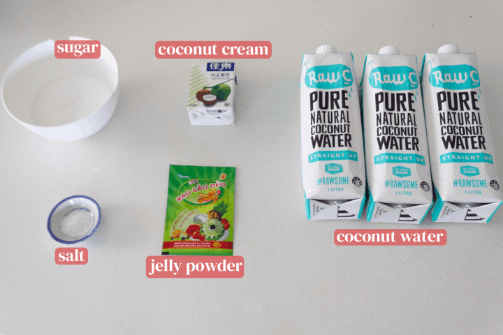 Bottles of coconut water along with a container of coconut cream, a packet of jelly powder, a dish of salt and a bowl of sugar.