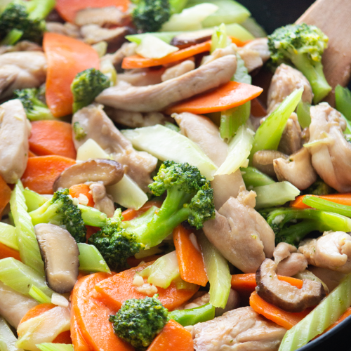 Close up of Chicken and Vegetable Stir Fry in a wok.