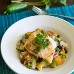 Seared Cod with Pineapple and Peach Black Bean Salsa
