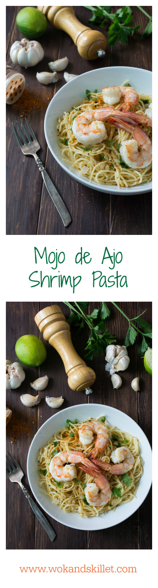 Mojo de Ajo Shrimp Pasta is a Mexican inspired version of Spaghetti aglio e olio. Pasta tossed in Mojo de Ajo (garlic oil), topped with succulent shrimp, chili flakes and fresh parsley or cilantro.