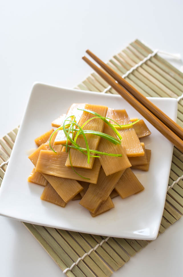 Menma (Seasoned Bamboo Shoots) is a classic Japanese ramen topping but can also be enjoyed as a snack. Slightly crunchy and extremely flavorful.