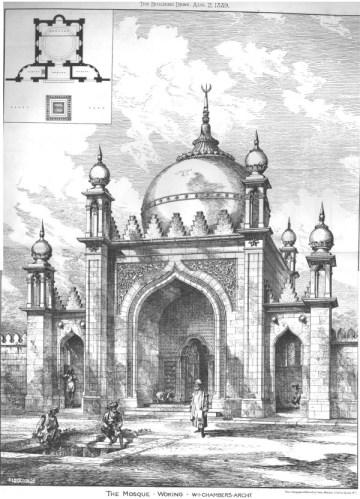 La moschea di Woking in una pubblicazione dell'epoca