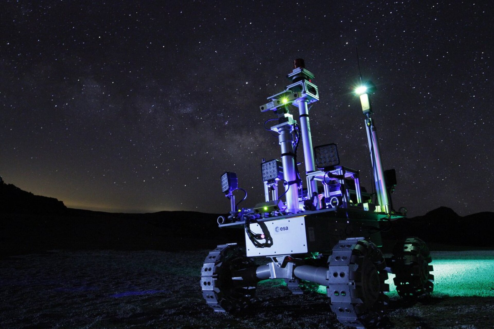 Robot rover at night.