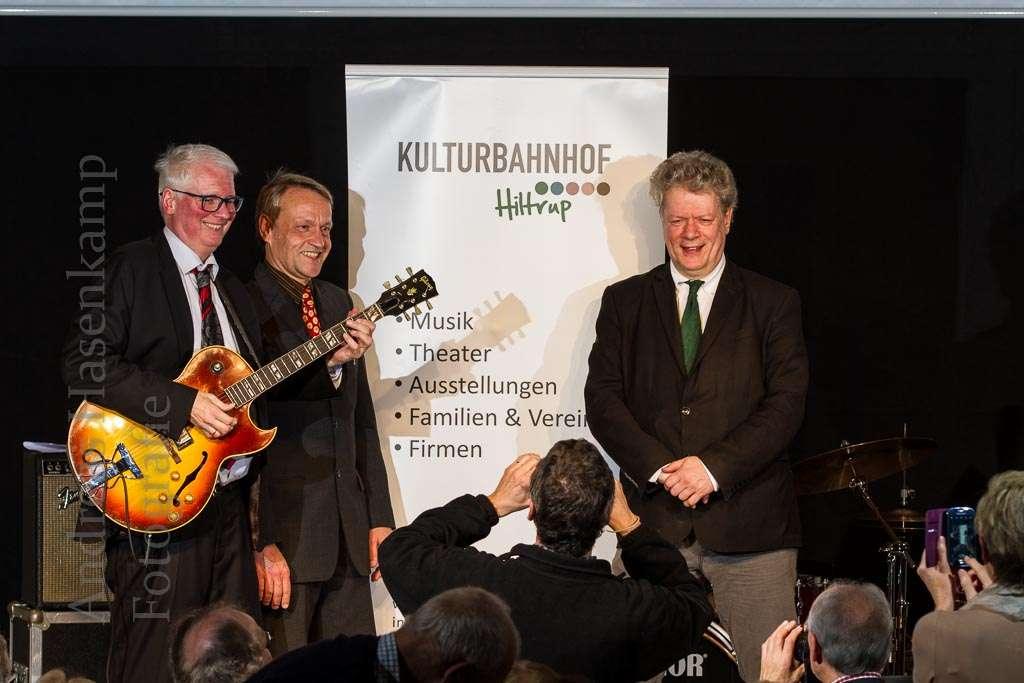 """Das zehnte """"Boogie-Woogie Power-Train""""-Konzert im Kulturbahnhof Hiltrup - und Bleiming und Kollegen schauen schon auf die nächsten. Foto: A. Hasenkamp, Fotograf in Münster."""